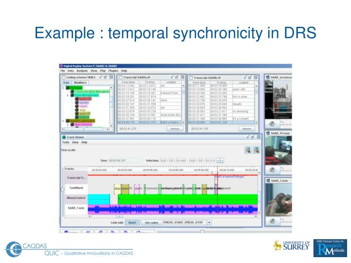 Example : temporal synchronicity in DRS
