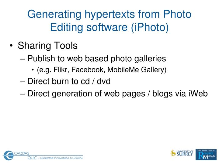 Generating hypertexts from Photo Editing software (iPhoto)