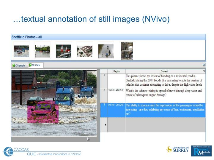 …textual annotation of still images (NVivo)