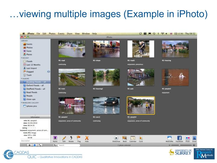 …viewing multiple images (Example in iPhoto)