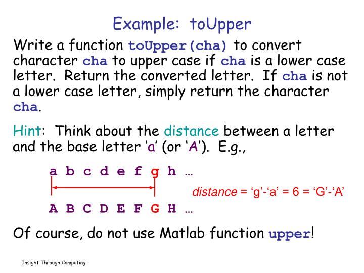 Example:  toUpper