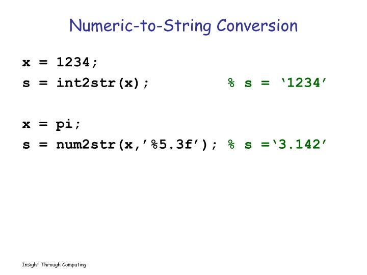 Numeric-to-String Conversion