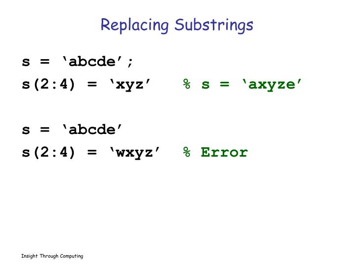 Replacing Substrings