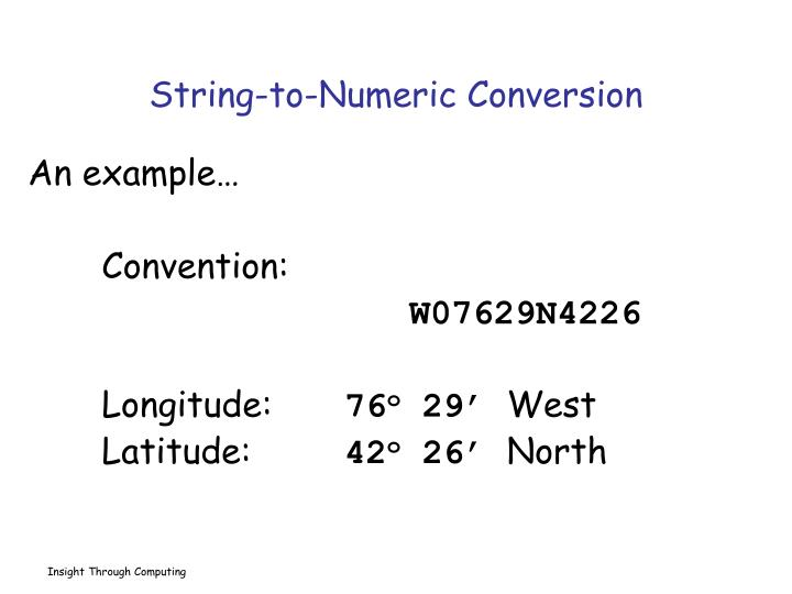 String-to-Numeric Conversion