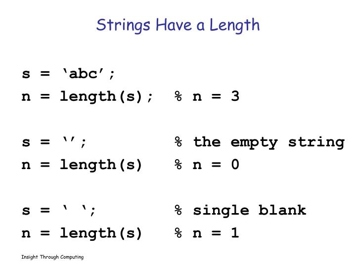 Strings Have a Length