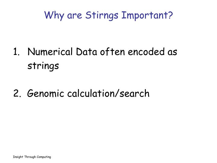 Why are Stirngs Important?