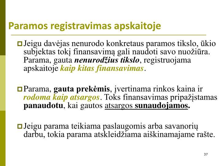 Paramos registravimas apskaitoje