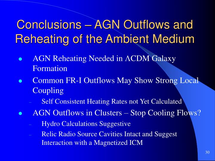 Conclusions – AGN Outflows and Reheating of the Ambient Medium