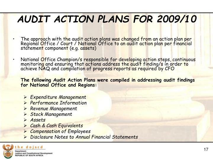 AUDIT ACTION PLANS FOR 2009/10