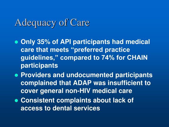 Adequacy of Care