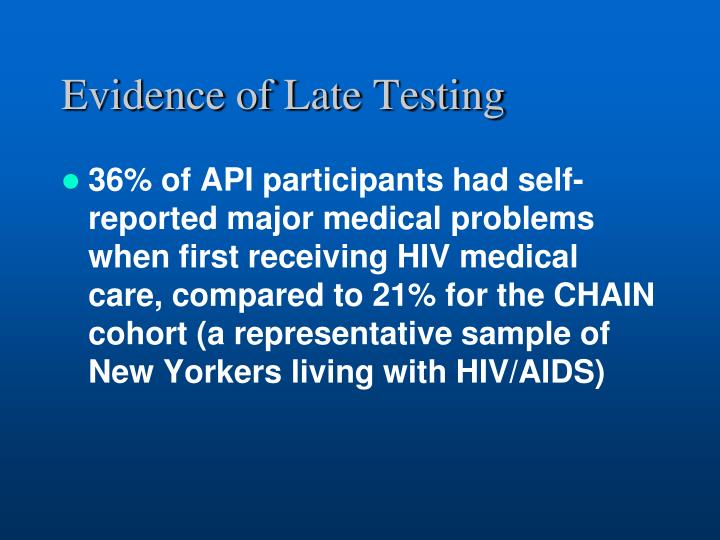 Evidence of Late Testing