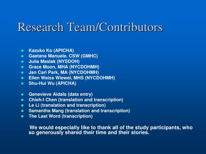 Research Team/Contributors