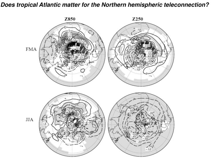Does tropical Atlantic matter for the Northern hemispheric teleconnection?