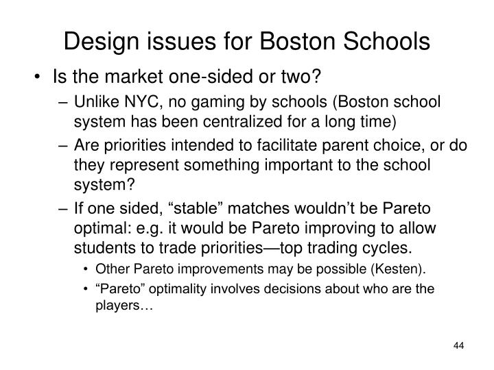 Design issues for Boston Schools