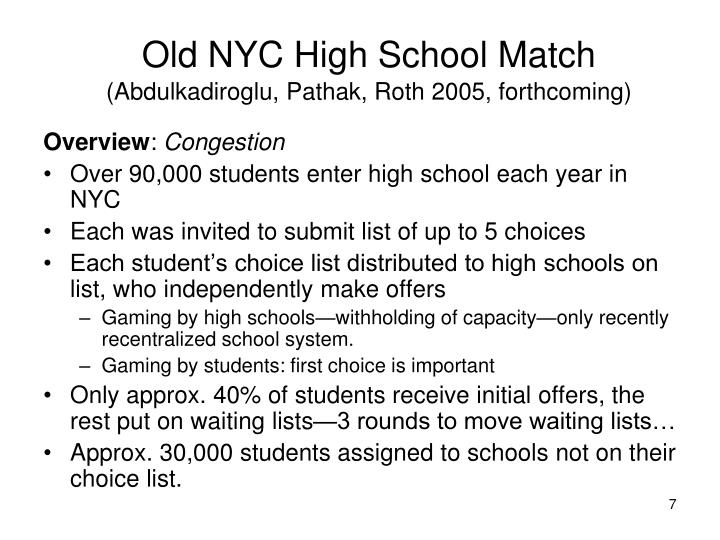 Old NYC High School Match