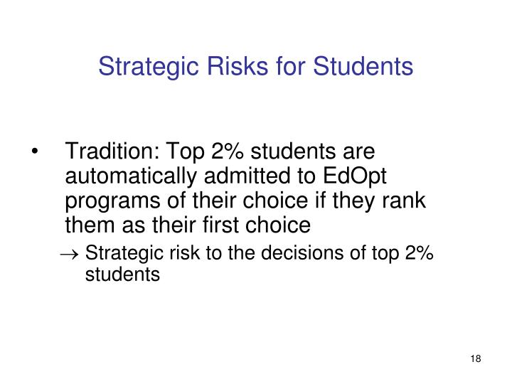 Strategic Risks for Students