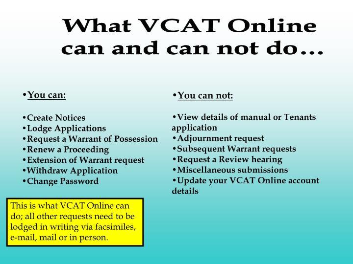 What VCAT Online