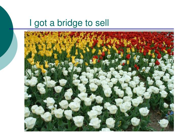 I got a bridge to sell