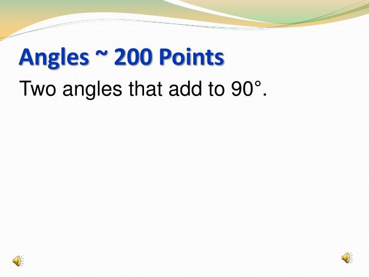 Angles ~ 200 Points