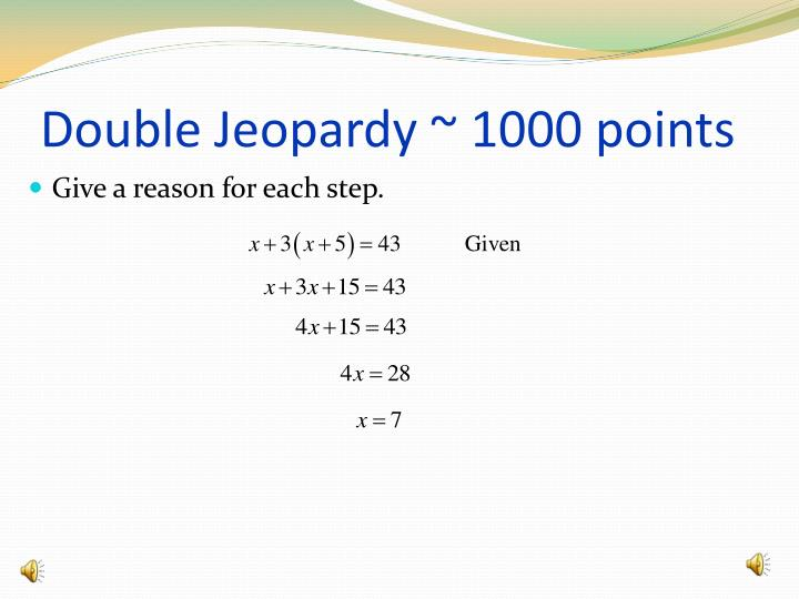 Double Jeopardy ~ 1000 points