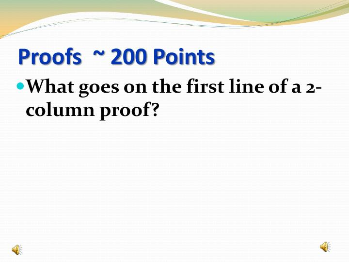 Proofs  ~ 200 Points