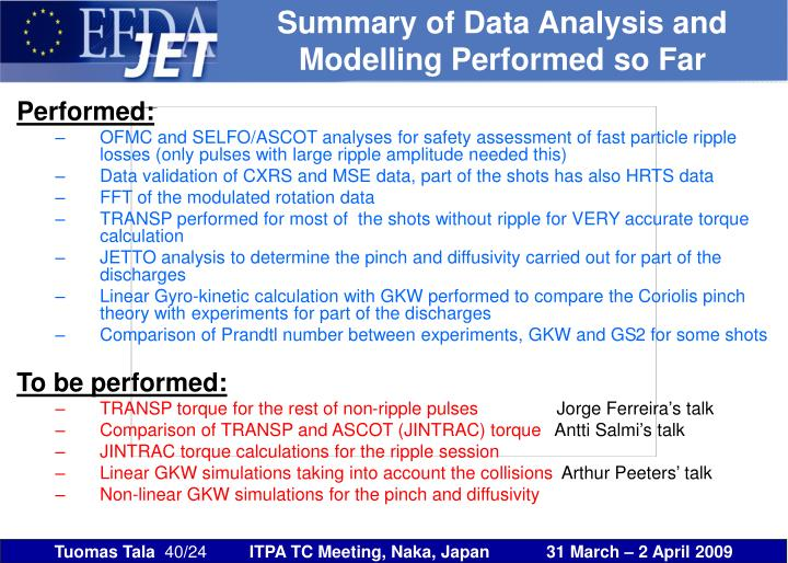 Summary of Data Analysis and Modelling Performed so Far
