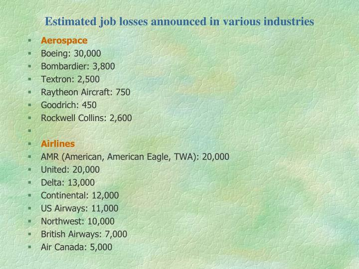 Estimated job losses announced in various industries
