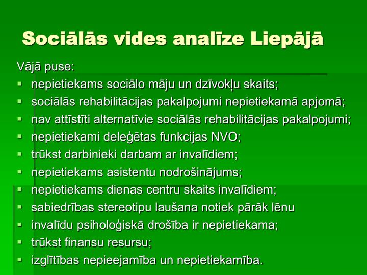 Sociālās vides analīze Liepājā