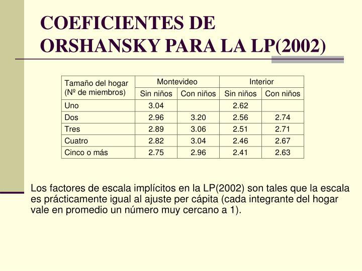 COEFICIENTES DE ORSHANSKY PARA LA LP(2002)