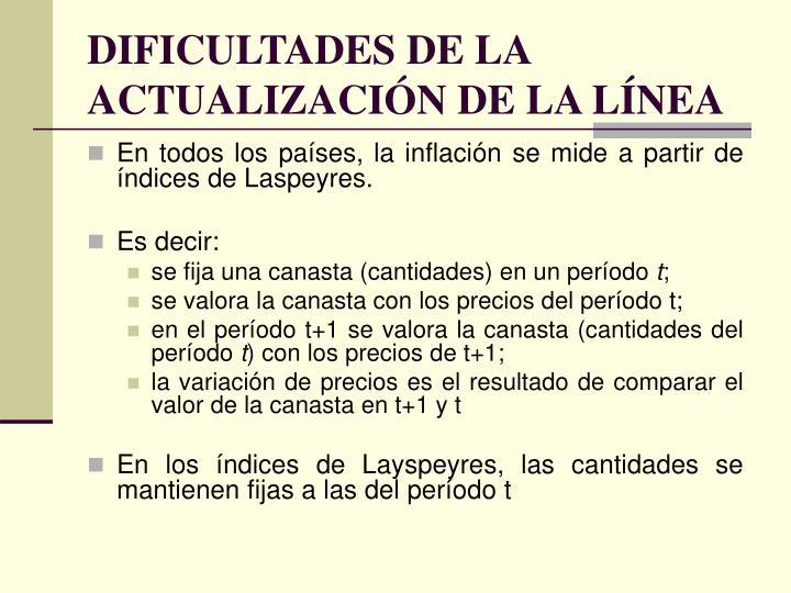 DIFICULTADES DE LA ACTUALIZACIÓN DE LA LÍNEA