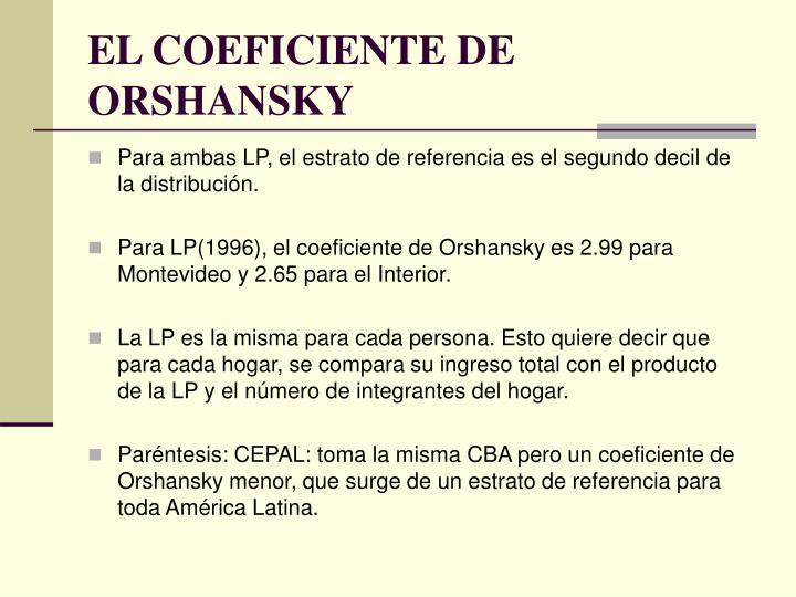 EL COEFICIENTE DE ORSHANSKY