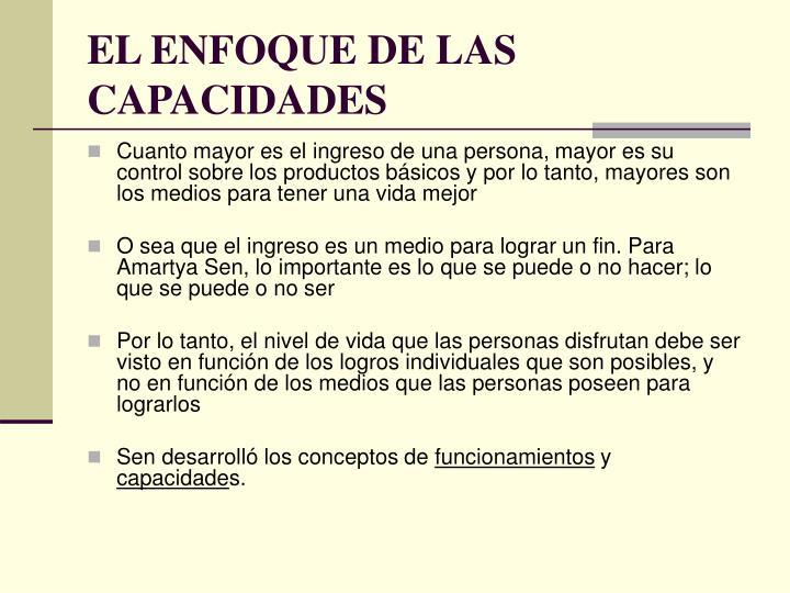 EL ENFOQUE DE LAS CAPACIDADES