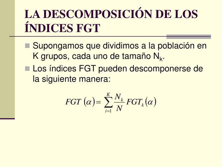 LA DESCOMPOSICIÓN DE LOS ÍNDICES FGT