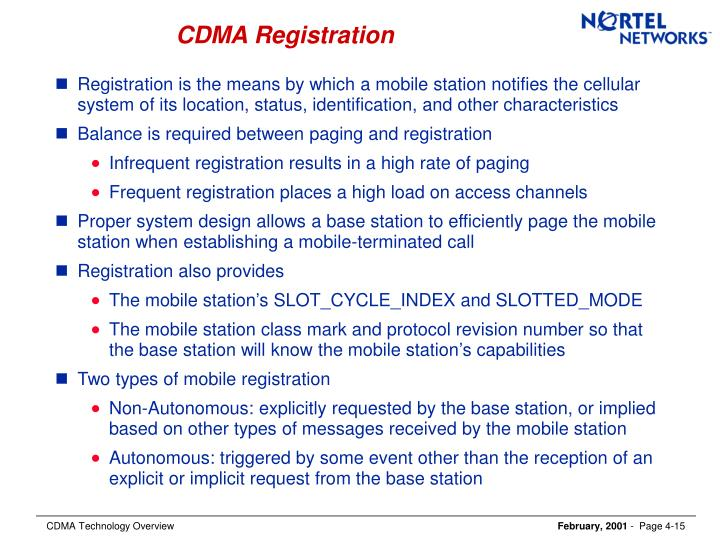 CDMA Registration
