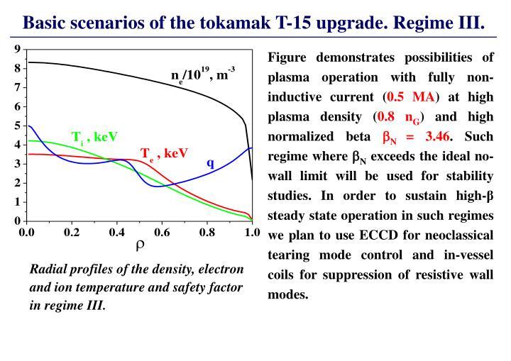 Basic scenarios of the tokamak T-15 upgrade. Regime III.