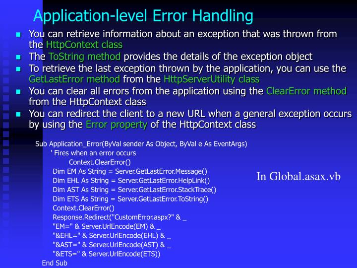 Application-level Error Handling