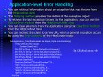 application level error handling