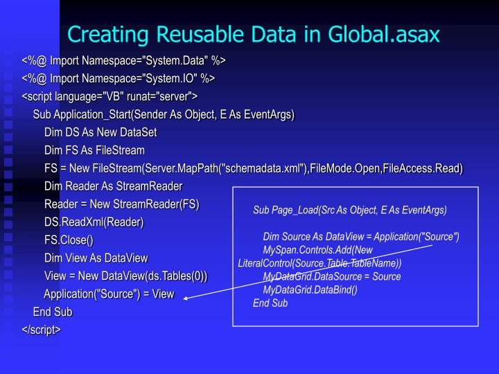 Creating Reusable Data in Global.asax