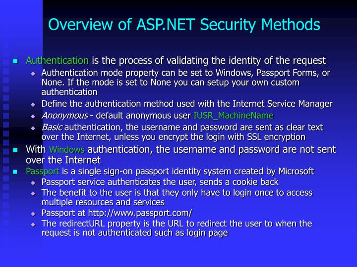 Overview of ASP.NET Security Methods
