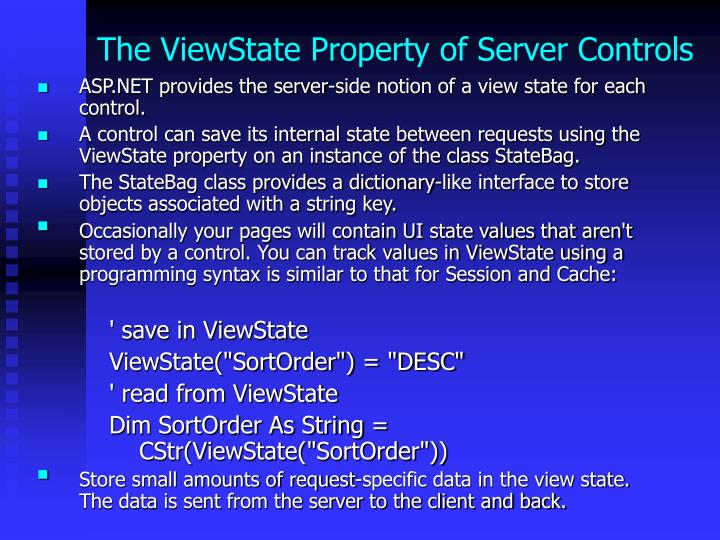 The ViewState Property of Server Controls
