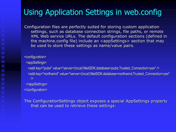 Using Application Settings in web.config