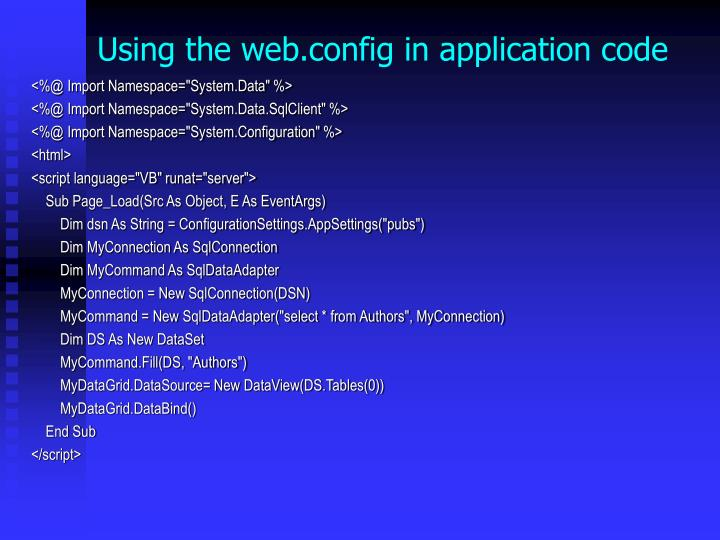Using the web.config in application code