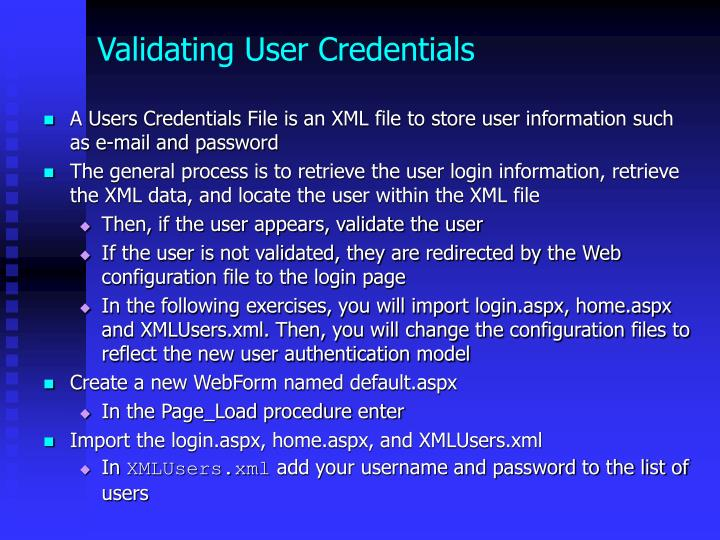 Validating User Credentials
