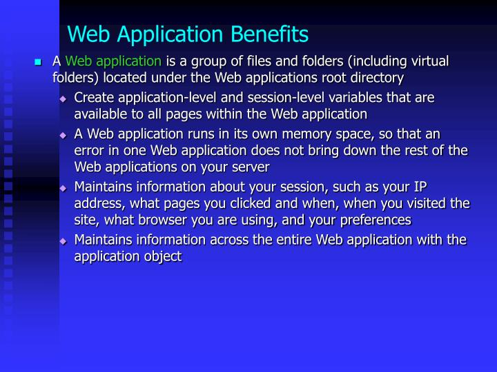 Web application benefits