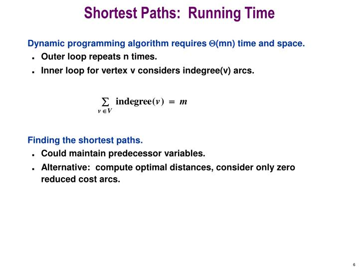 Shortest Paths:  Running Time