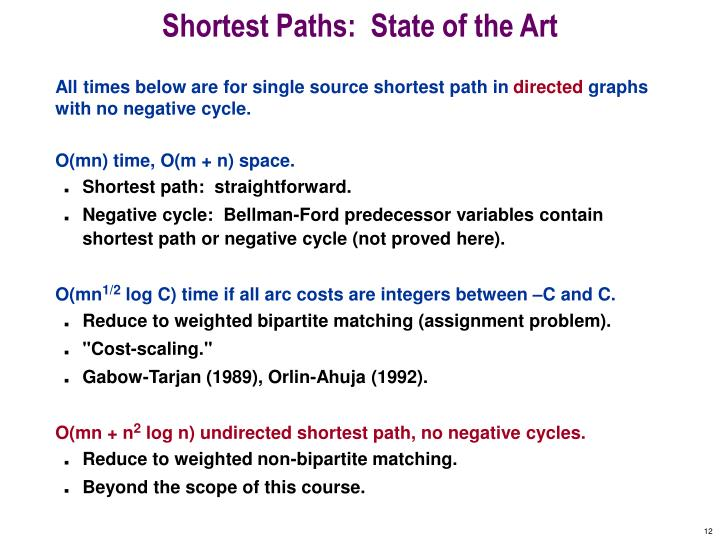Shortest Paths:  State of the Art