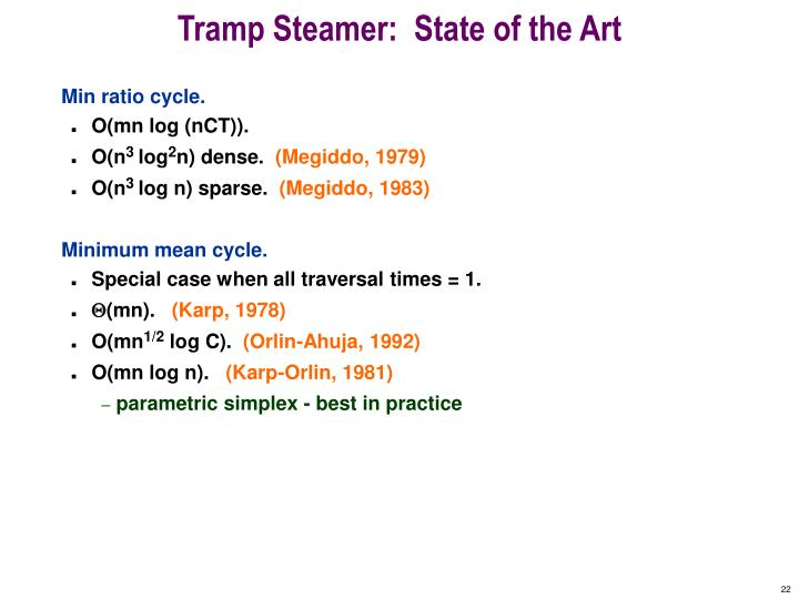Tramp Steamer:  State of the Art