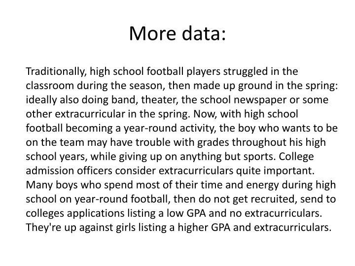 More data: