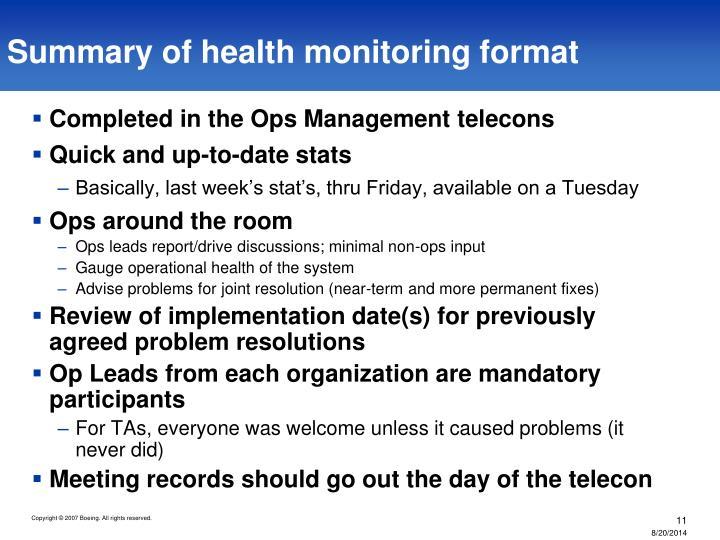 Summary of health monitoring format