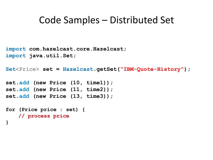 Code Samples – Distributed Set